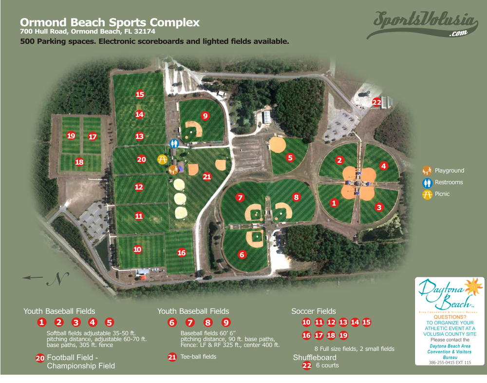 Map Of Ormond Beach Florida.Ormond Beach Sports Complex